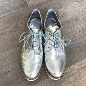 Silver oxfords from J.Crew
